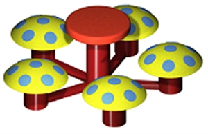 Image of 5 mushroom seats with table